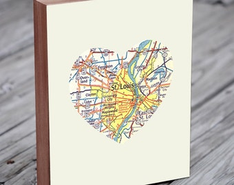 St Louis Map - St Louis Missouri map - St Louis Art - Wood Block Art Print