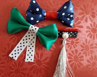 Set of three brooches-Ribbon brooch-Bow pin-Blue Green Red Polka Dot Brooch-Gift