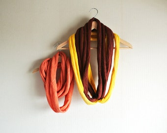 SALE 3 separated natural (Madder x2 / Turmeric) dyed loop wool scarves.