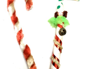 Vintage Candy Cane Ornaments, Candy Cane Clown, Chenille, Pipe Cleaner, 1950