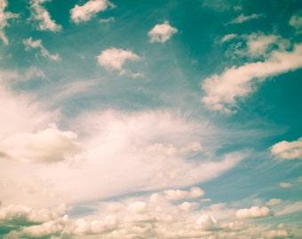 Sky Photograph Digital Download cloud pastel aqua blue green teal dreamy vintage wall art