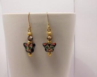 Black & Gold Cloisonne Butterfly Earring Pair