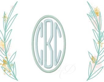 "3.6"" 3"" Oval Embroidery Font Satin Stitch Monogram Instant download 4x4 hoop BX instant download"