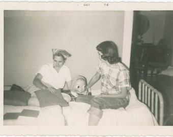 vintage photo 1956 Snapshot Teenage Girl Mom Strange Doll Humpty Dumpty Egg Head