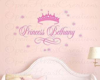 Princess Name Wall Decal - Baby Girl Nursery Vinyl Custom Name with Tiara and Stars 22H x 36W FN0351