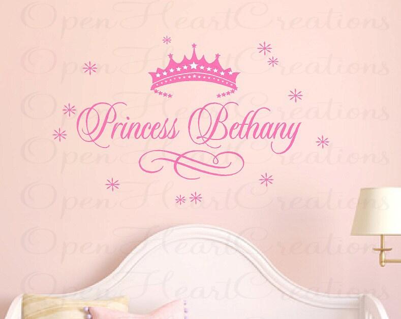 Princess Name Wall Decal Baby Girl Nursery Vinyl Custom Name - Custom vinyl decals buffalo ny