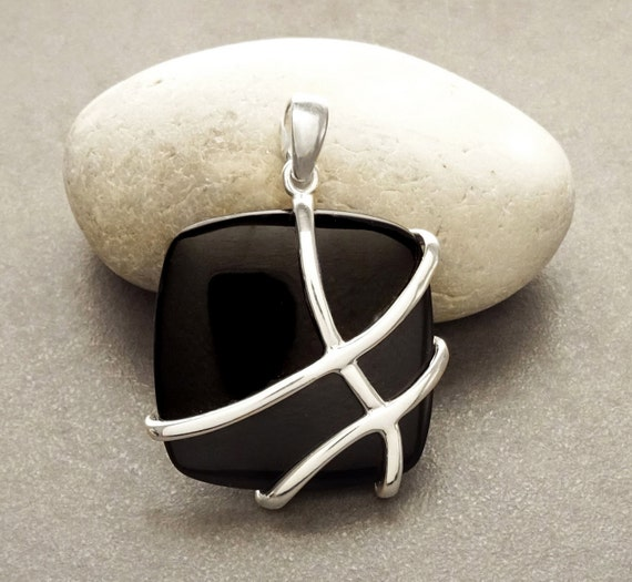 Onyx Square Pendant - Sterling Silver - Filigree shape - Black Onyx Gemstone - Intricate Filigree - Lace - Unique Geometric Design Pendant