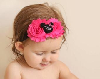 Minnie Headband, Baby Headband, Baby Headbands, Mickey Headband, Baby Girl Headband, Newborn Headband, Headbands, Pink Minnie Baby Headband