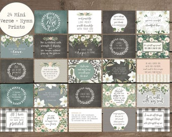 24 Verse + Hymn Mini Prints, Scripture Cards, Hymn Prints, Farmhouse Style
