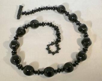 Black Onyx, Crystal and Jasper Necklace