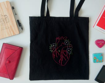 Open ur heart bag Hand embroidered tote bag Black cotton bag Canvas bag Hand embroidery anatomical heart flowers Murakami quote Ready 2 Ship