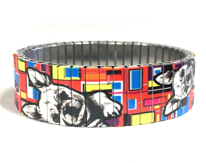 French Bulldog bracelet, Frenchie, dog lover, Stretch Bracelet, Repurpose Watchband, Sublimation, Stainless Steel, gift for dog lovers