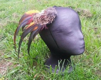 Pheasant and rooster feather fascinator.
