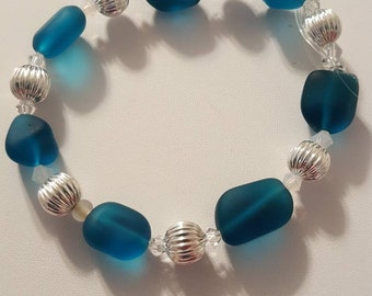 Teal sea glass beaded bracelet.