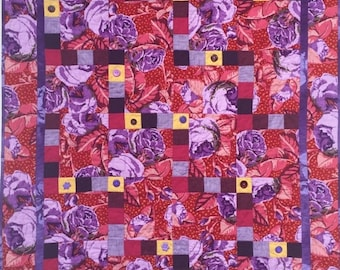 Hello Summer Sale Feeling Fat? Give Yourself Big Purple Flowers art quilt