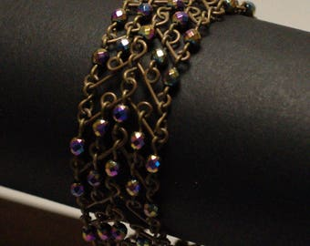 "Large ""V"" brass red/hematite bracelet"