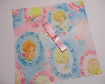 Vintage Gift Wrap-Wrapping Paper-Baby-Children-Shower-Pastels-Retro-Mid Century-Full Sheet-Wrapping Paper