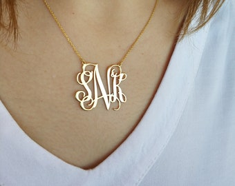 Monogram Necklace,  Monogram Necklace Personalized,  Personalized Necklace Name, Necklace Personalized Jewelry, Handmade necklace