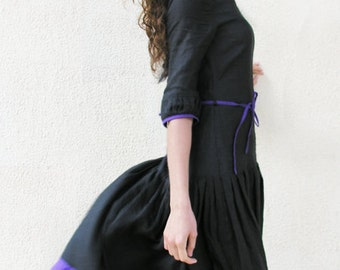 Linen Long Black Dress, Ladies Maxi Boho Dress, Women's Linen Dress, Black Dress