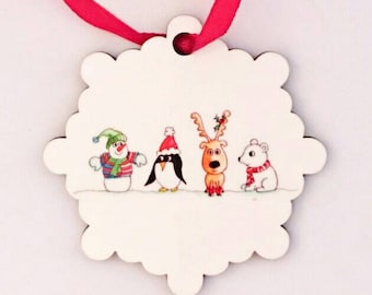 Christmas bauble Tree Decoration Personalised Christmas tree decoration Watercolour art snowman penguin reindeer polar bear