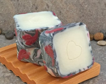 Red Hearts Rimmed Artisan Cold Process Soap in a Square Shape - Valentine's Day