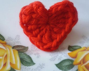 Red crochet heart Brooch