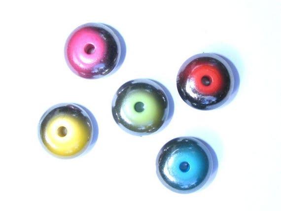 10 Perles résine 15mm Couleurs Mixtes
