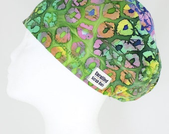 Surgical Scrub U Hat for Women - Green Marbles