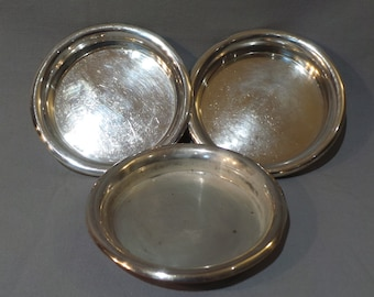 Three Bottle Coasters Worn Silver Plate Shabby Chic Champagne Coasters Wine Bottle Trays Restaurant Quality Sommelier Drink and Barware