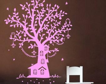 Tree House Decal | Vinyl Wall Decal | Tree Decal | Kids Room Decor | Wall Mural | Nursery Decal | Playroom Decor| kik329