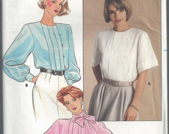 1980s Blouse Pattern Front Tucks Vintage Butterick Sewing Top Uncut Women's Misses Size 14 Bust 36 Inches