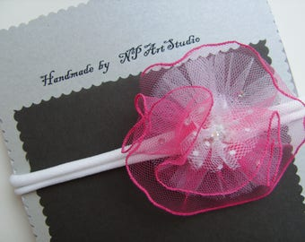 White headband with pink flower for newborn, baby, toddler