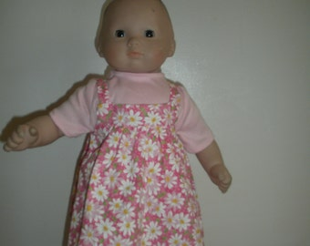 15 inch doll colthes-Pink with white daisy dress