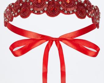 Red Eliza Great Gatsby Flapper Wedding Headband Vintage inspired 20s Beaded Charleston Downton Abbey Wedding Art Deco New HandMade