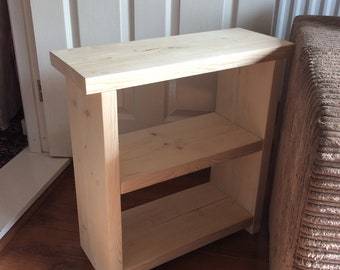 listings Handcrafted Rustic Reclaimed Chunky Wooden Side Table/End Table, Unwaxed Finish