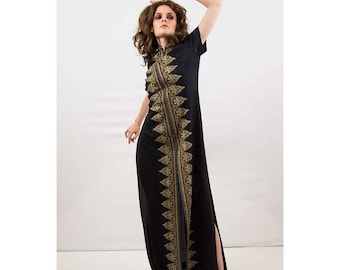 Vintage SHAHEEN / 70s dress / Black maxi dress / Signed metallic printed lounge gown S M