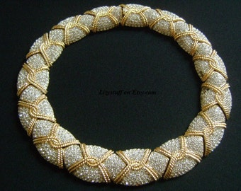 Exquisite CINER Haute Couture Sparkle Pave Diamante Rhinestone GoldPlated Collar Necklace WOW Absolutely Amazing Glamorous Hollywood Regency