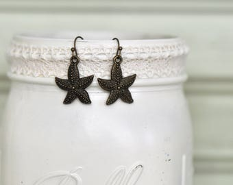 Bronze Starfish Earrings- Starfish Earrings- Dangle Earrings- Bronze Earrings- Nautical Earrings- Beach Earrings- Affordable- Gift for Her