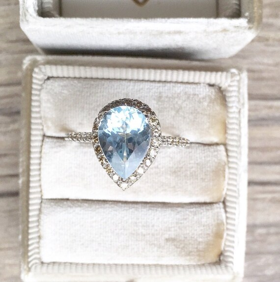 Pear Aquamarine Champagne Diamond Halo Ring