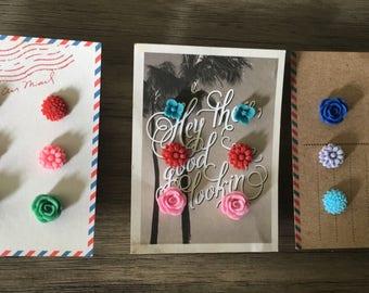 9 Pairs Stud Earring Sets Hypoallergenic 9 Pairs / 3 sets Floral
