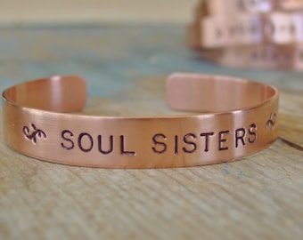 Soul Sister Bracelet,Soul Sister Jewelry,Copper Bracelet,Brass Bracelet,Soul Sister Gift,Best Friend Gift,Best Friend Jewelry,BFF Gifts