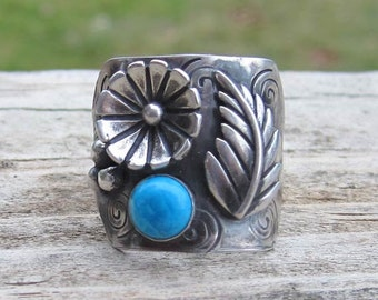 Native American Inspired Howlite Sterling Silver Ring - Size 8
