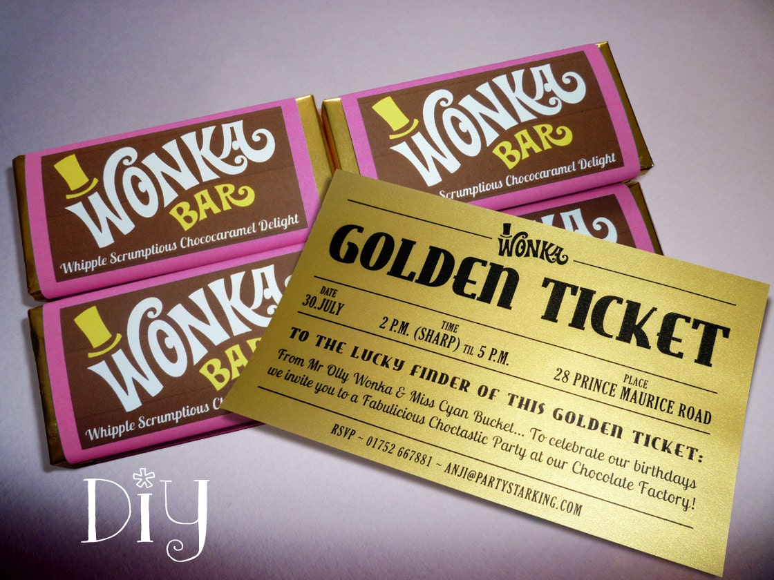 Wonka Bar Golden Ticket invitations Willy Wonka birthday