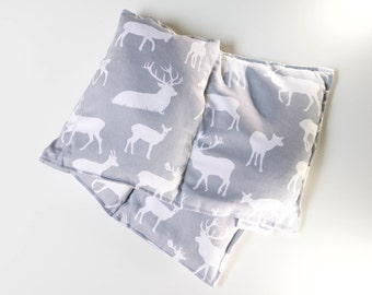Heat Pack, Oversized, Deer Print, 100% Cotton, microwavable Extra Large Heat bag, heating pad