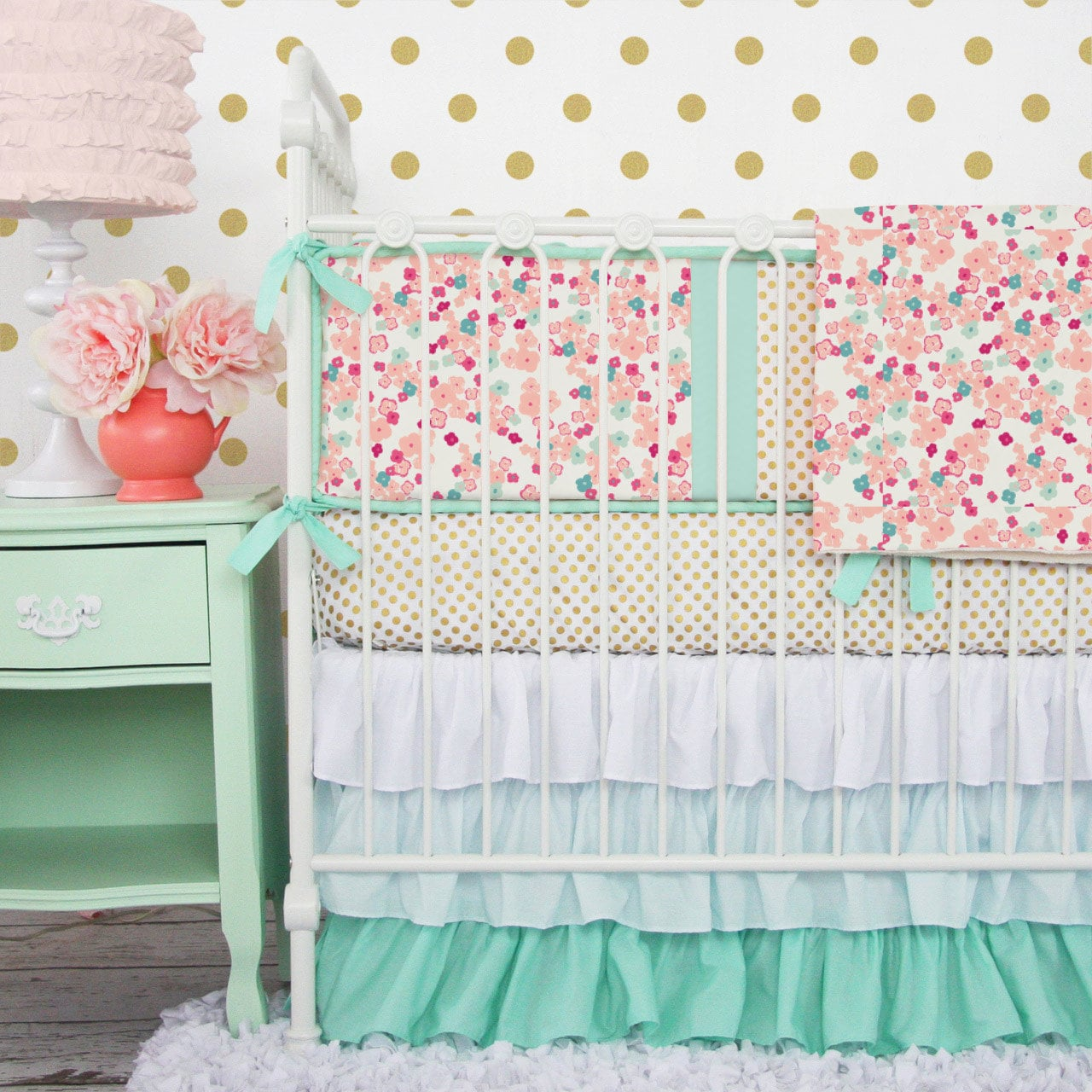 shee patchwork the cotton baby green polka bed peanut piece dots bedding girl fitted and pink ip mint quilt medallions ruffle shell dust floral set coral crib