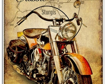 """Classic vintage Motorcycle art print """"The Road to Sturgis"""". The perfect gift for motorcycle enthusiasts."""