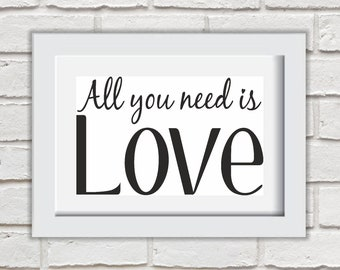 All You Need Is Love Framed Quote Print Mounted Word Art Wall Art Decor Typography Inspirational Quote Home Gift