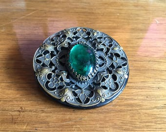 Large Ornate Victorian Glass Button