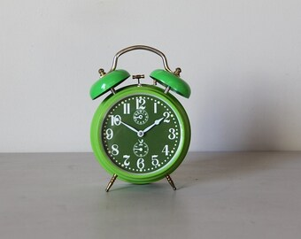 Upcycled French Jaz Alarm Clock Green 60's Retro / Mid Century Large