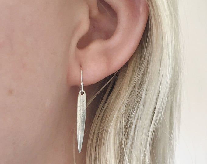 Dagger Earrings in sterling silver - simple silver earrings - sterling silver earrings - dangle earrings - everyday earrings